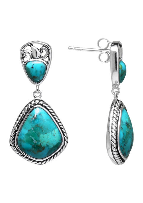 Sterling Silver Enhanced Turquoise Bali-Inspired Post Drop Earrings