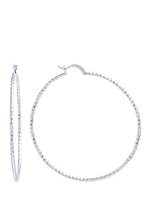 Infinity Silver Sterling Silver 60 mm Diamond Cut