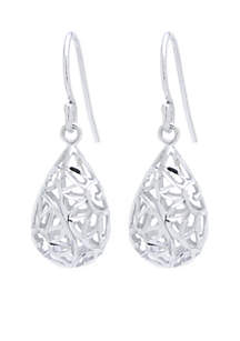 Sterling Silver Small Oval Drop Earrings
