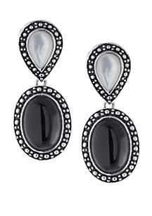 Sterling Silver Oval Onyx and Mother Of Pearl Teardrop Earrings