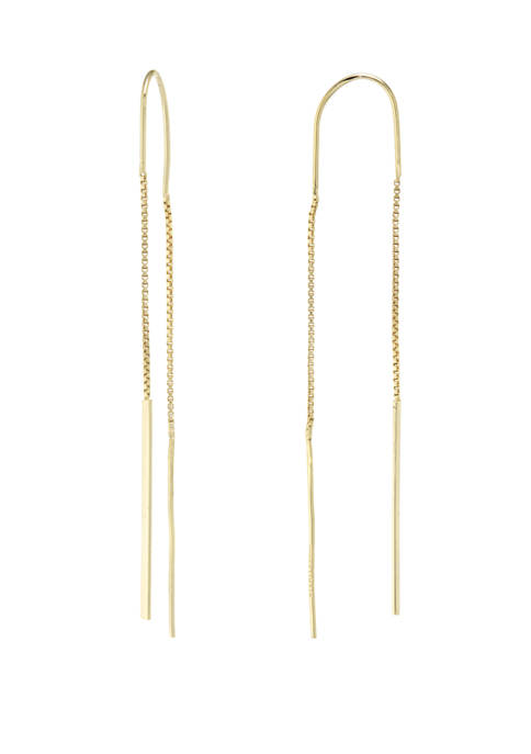 Gold Over Sterling Silver Bar Threader Earrings