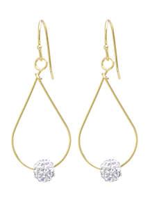 Belk Silverworks Gold Over Sterling Silver 6 mm Crystal Pave Ball Teardrop Earrings