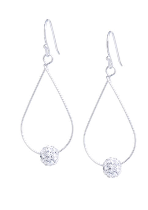 Belk Silverworks Sterling Silver Crystal Pave Tear Drop