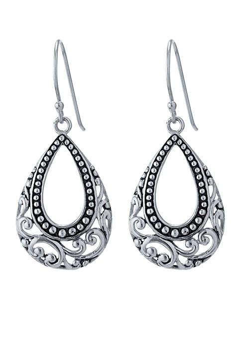 Belk Silverworks Silver-Tone Artisan Open Oval Teardrop Earrings
