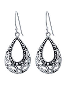 Silver-Tone Artisan Open Oval Teardrop Earrings