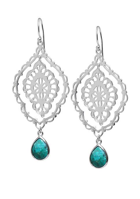 Sterling Silver Enhanced Turquoise Multi Drop Earrings