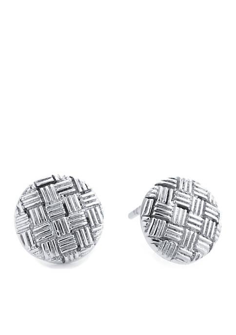 Belk Silverworks Sterling Silver Round Basketweave Stud Earrings