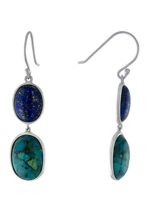Sterling Silver Enhanced Turquoise & Lapis Graduated Earrings
