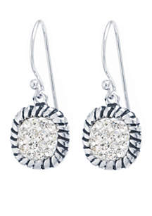 Sterling Silver Clear Crystal Pave Square Drop Earrings