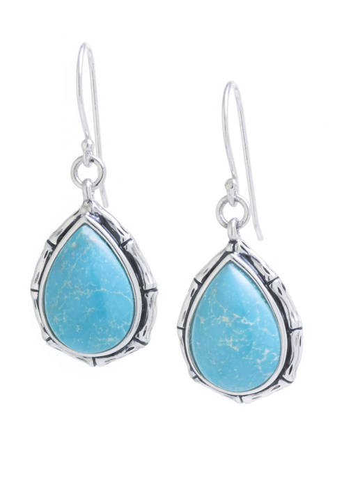 Sterling Silver Stabilized Turquoise Teardrop with Bamboo Edge Earrings