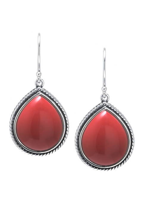 Sterling Silver Simulated Red Jasper Rope-Edge Teardrop Earrings