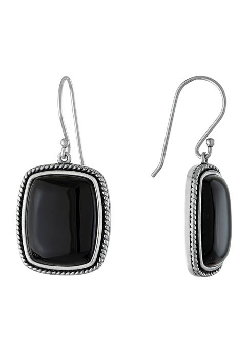 Infinity Silver Sterling Silver Dyed Black Chalcedony Rectangle