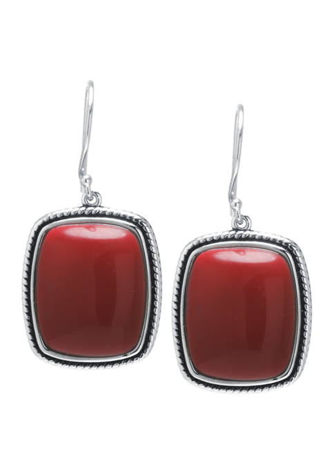 Sterling Silver Simulated Red Jasper Rope-Edge Rectangle Earrings