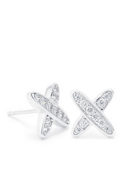 Sterling Silver Cubic Zirconia Pave X Stud Earrings