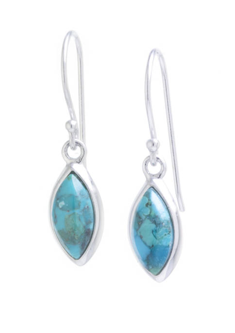 Sterling Silver Genuine Turquoise Marquise Drop Earrings