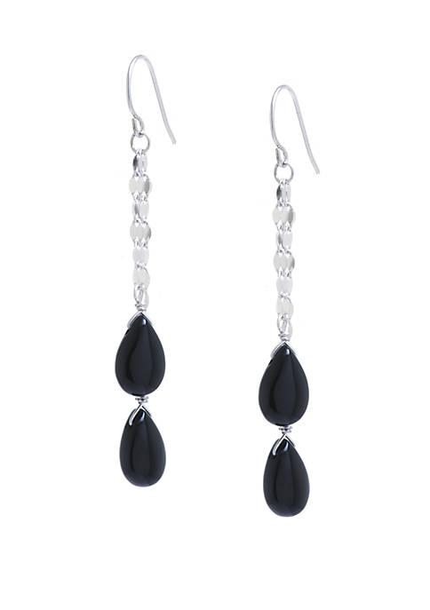 Belk Silverworks Sterling Silver Double Onyx Teardrop Chain