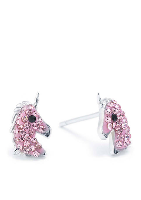 Infinity Silver Sterling Silver Light Pink Crystal Unicorn