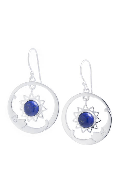Infinity Silver Sterling Silver Dyed Lapis Circle Sun