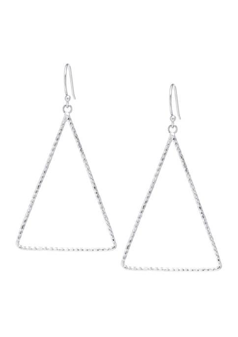 Sterling Silver Open Diamond Cut Triangle Drop Earrings