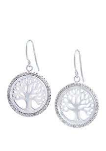 Sterling Silver Mother Of Pearl and Cubic Zirconia Tree Earrings