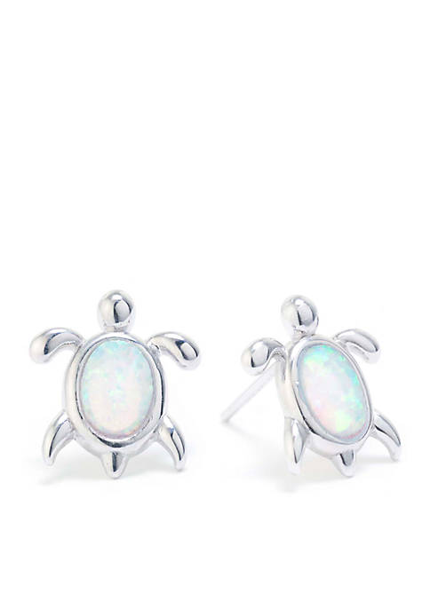Belk Silverworks Sterling Silver Opal Turtle Stud Earrings