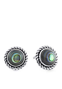 Sterling Silver Round Abalone Rope Edge Stud Earrings