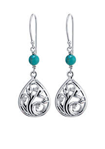 Sterling Silver Artisan Filigree Teardrop Earrings