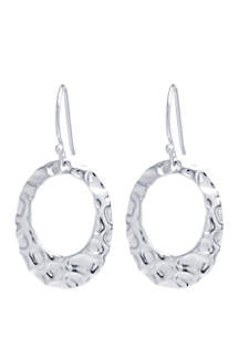 Sterling Silver Hammered Open Oval Earrings