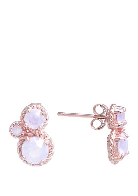 Belk Silverworks Rose Gold Sterling Silver Cluster Earrings