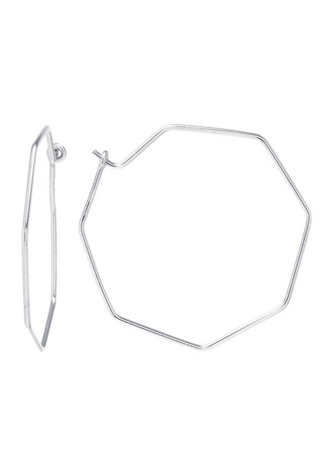 Athra NJ Sterling Silver 44 Millimeter Hexagon Wire
