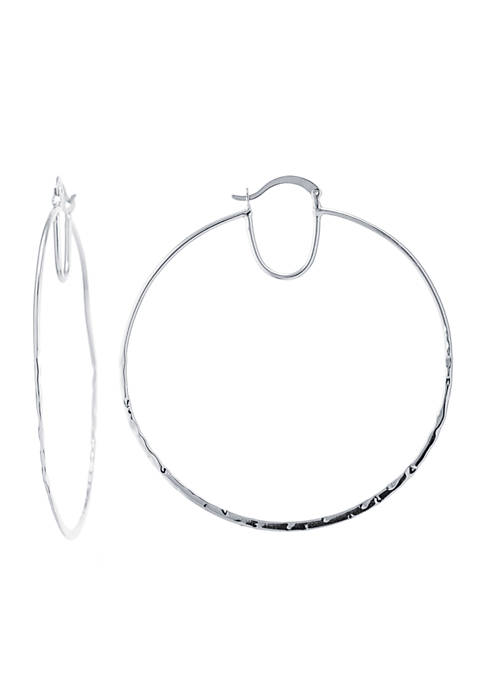 Belk Silverworks Sterling Silver Hammered Hoop Earrings