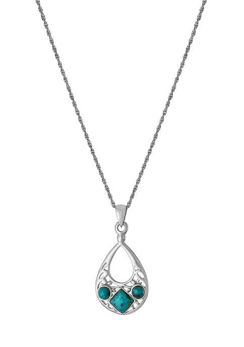 Infinity Silver 18 Inch Sterling Silver Enhanced Turquoise