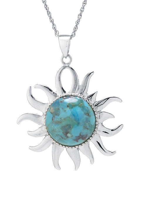 Infinity Silver Sterling Silver Enhanced Turquoise Sun Pendant