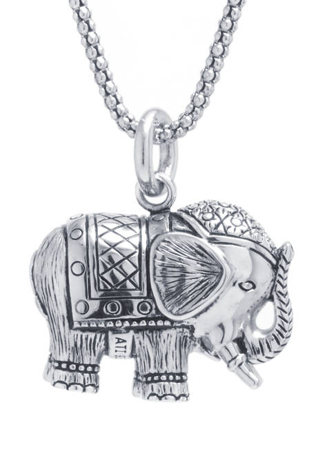 Infinity Silver Sterling Silver Bali Elephant Pendant Necklace