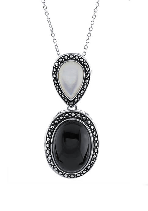 Sterling Silver Onyx and Mother Of Pearl Pendant Necklace