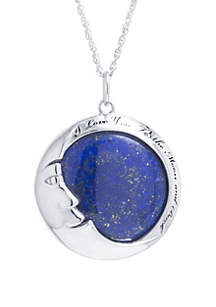 Belk Silverworks Sterling Silver Dyed Lapis 'I Love You To The Moon and Back' Pendant Necklace