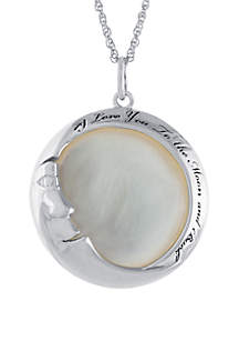 Belk Silverworks Sterling Silver Mother Of Pearl I Love You To The Moon And Back Necklace