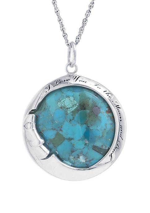 Sterling Silver Enhanced Turquoise I Love You To The Moon and Back Pendant Necklace
