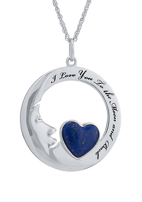 Sterling Silver Dyed Lapis Heart  I Love You To The Moon and Back Pendant Necklace