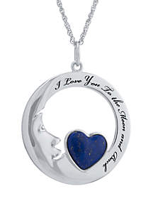 Belk Silverworks Sterling Silver Dyed Lapis Heart  'I Love You To The Moon and Back' Pendant Necklace