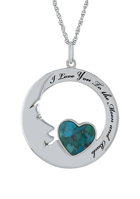 Sterling Silver Enhanced Turquoise Heart I Love You To The Moon and Back Necklace