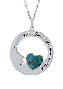 Belk Silverworks Sterling Silver Enhanced Turquoise Heart I Love You To The Moon and Back Necklace