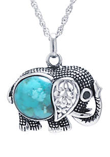 Belk Silverworks Sterling Silver Enhanced Turquoise Cabochon Elephant Pendant Necklace with Black Cubic Zirconia Eye