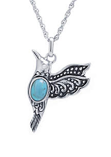 Belk Silverworks Sterling Silver Enhanced Turquoise Cabochon Bird Pendant Necklace with Cubic Zirconia Eye