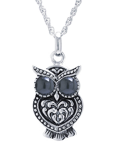 Infinity Silver Sterling Silver Black Chalcedony Owl Pendant