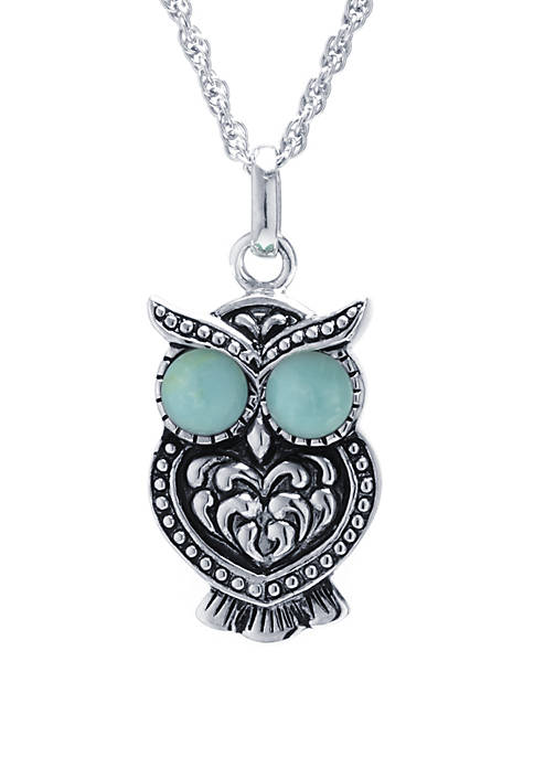 Infinity Silver Sterling Silver Enhanced Turquoise Owl Pendant