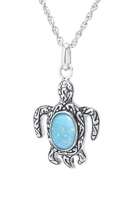 Sterling Silver Enhanced Turquoise Cabochon Turtle Pendant Necklace