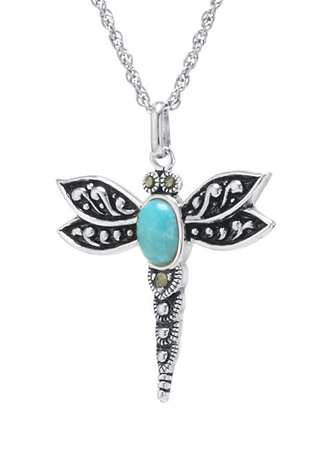 Infinity Silver Sterling Silver Enhanced Turquoise Marcasite