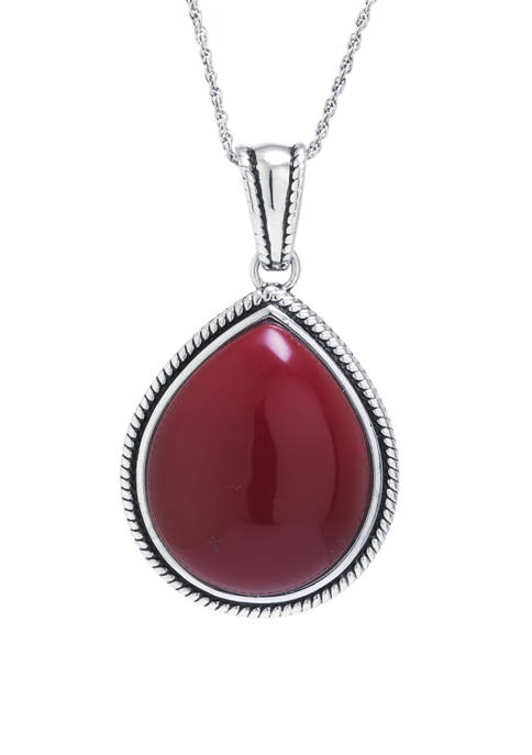 Sterling Silver Simulated Red Jasper Rope-Edge Teardrop Pendant