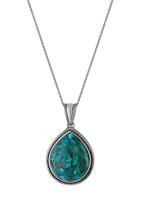 Sterling Silver 18 Inch Enhanced Turquoise Teardrop Cabochon Rope Edge Pendant Necklace